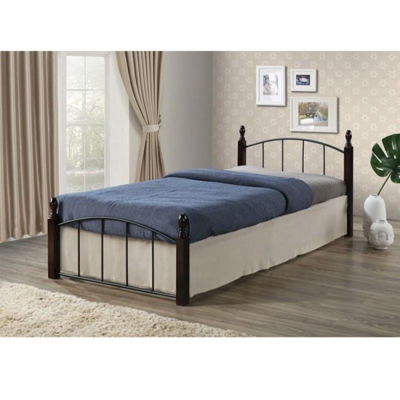 """Κρεβάτι """"ARAGON"""" μονό από μέταλλο-μαύρο, ξύλο-καρυδί 95x200x76"""
