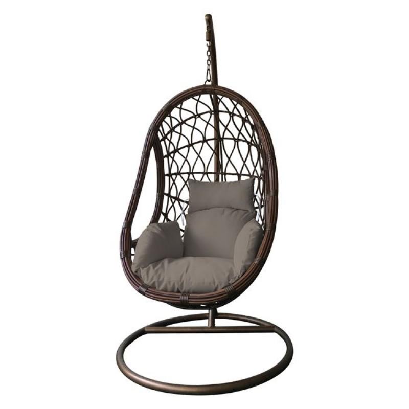 """Πολυθρόνα κρεμαστή """"MACAN"""" μεταλλική-wicker σε καφέ χρώμα 105x200"""