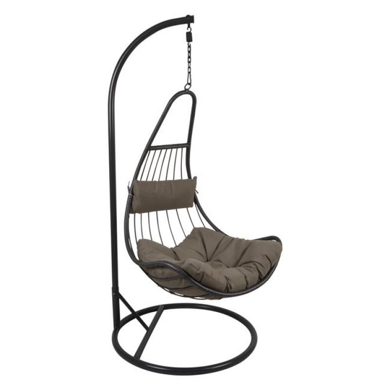 """Πολυθρόνα κρεμαστή  """"LOTO"""" μεταλλική-wicker σε σκούρο γκρι χρώμα 83x83x120/203"""