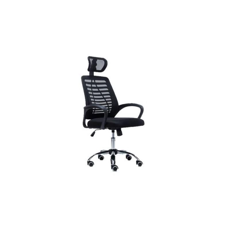 Πολυθρόνα διευθυντή από mesh ύφασμα σε μαύρο χρώμα 61x54x112/122
