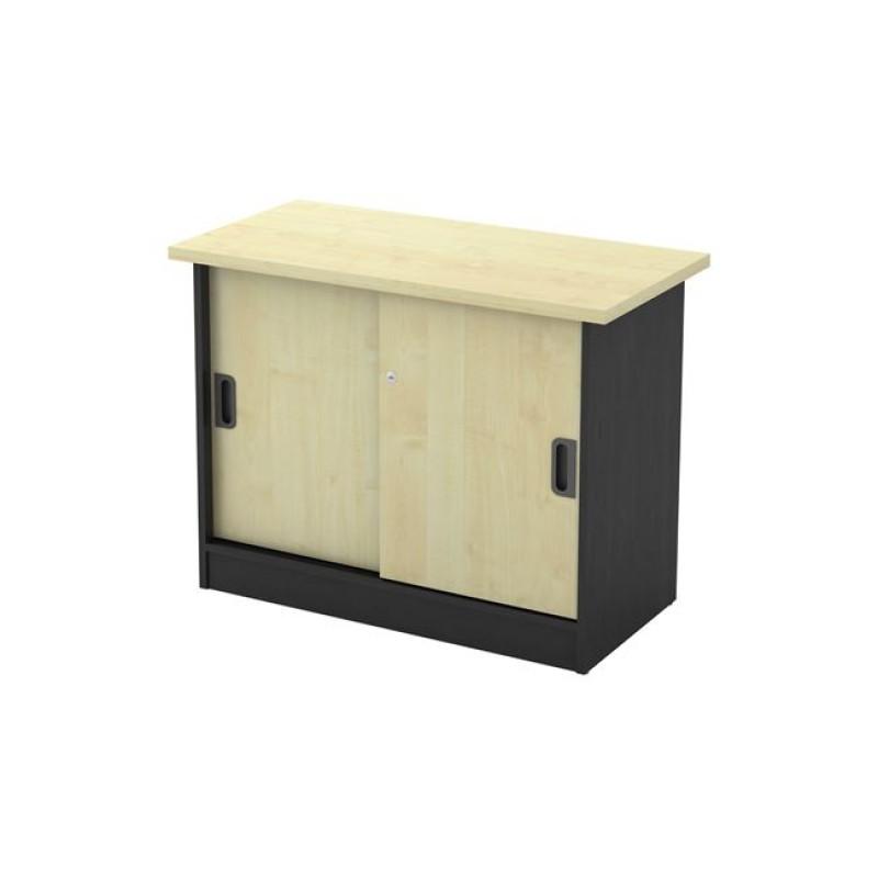 Ντουλάπι πλαϊνό σε χρώμα σκούρο γκρι με οξυά 90x45x70