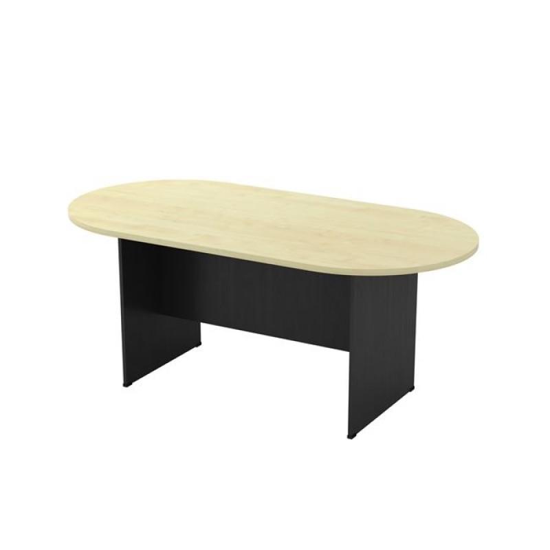 Τραπέζι συνεδρίου οβάλ σε χρώμα γκρι σκούρο-οξυά 180x90x75