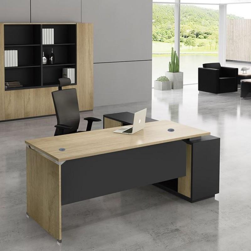 """Γραφείο γωνία αριστερή """"PROJECT"""" σε χρώμα σονόμα/γκρι 220x90/200x40"""