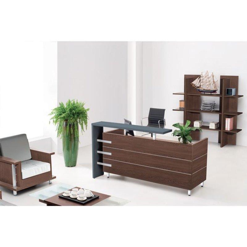 """Γραφείο reception """"PROJECT"""" σε χρώμα καρυδί/μαύρο 180x75x110"""