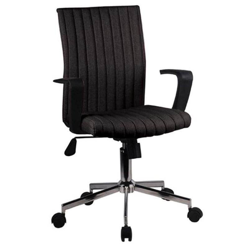 Πολυθρόνα εργασίας χρωμίου υφασμάτινη σε μαύρο χρώμα 55x48x94/104
