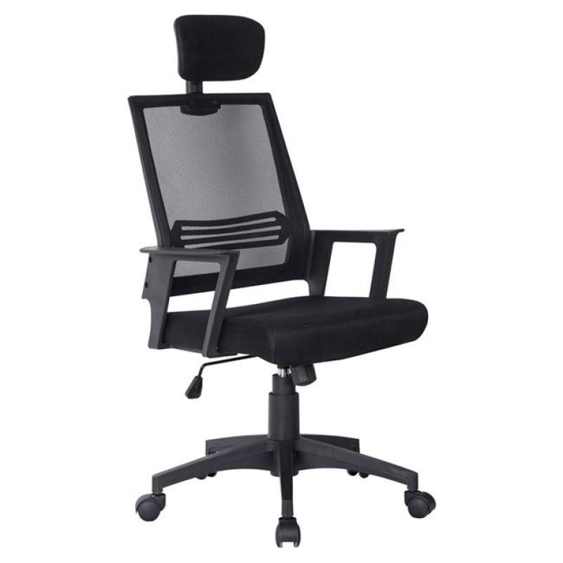 Πολυθρόνα εργασίας υφασμάτινη σε χρώμα μαύρο 59x65x115/125