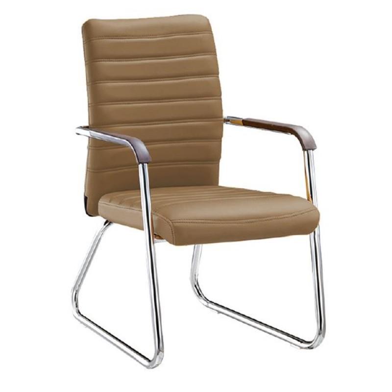 """Πολυθρόνα επισκέπτη """"COLLET"""" χρωμίου από τεχνόδερμα σε cappuccino χρώμα 55x64x95"""