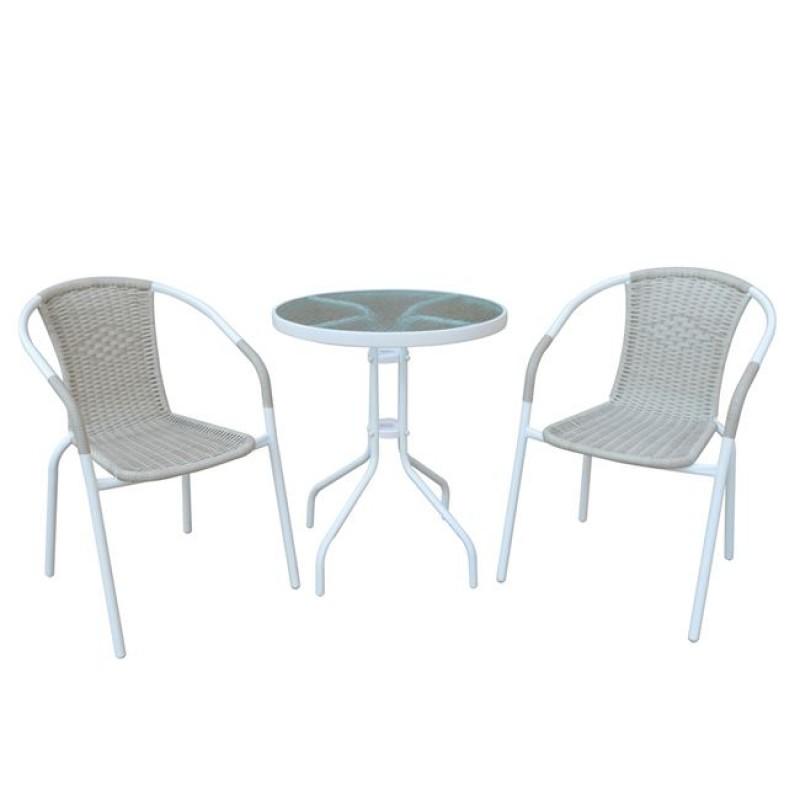 """Σετ κήπου """"BALENO"""" μεταλλικό-wicker σε μπέζ-λευκό χρώμα, Τραπ:D.60x70cm/Πολ:53x58x77cm"""
