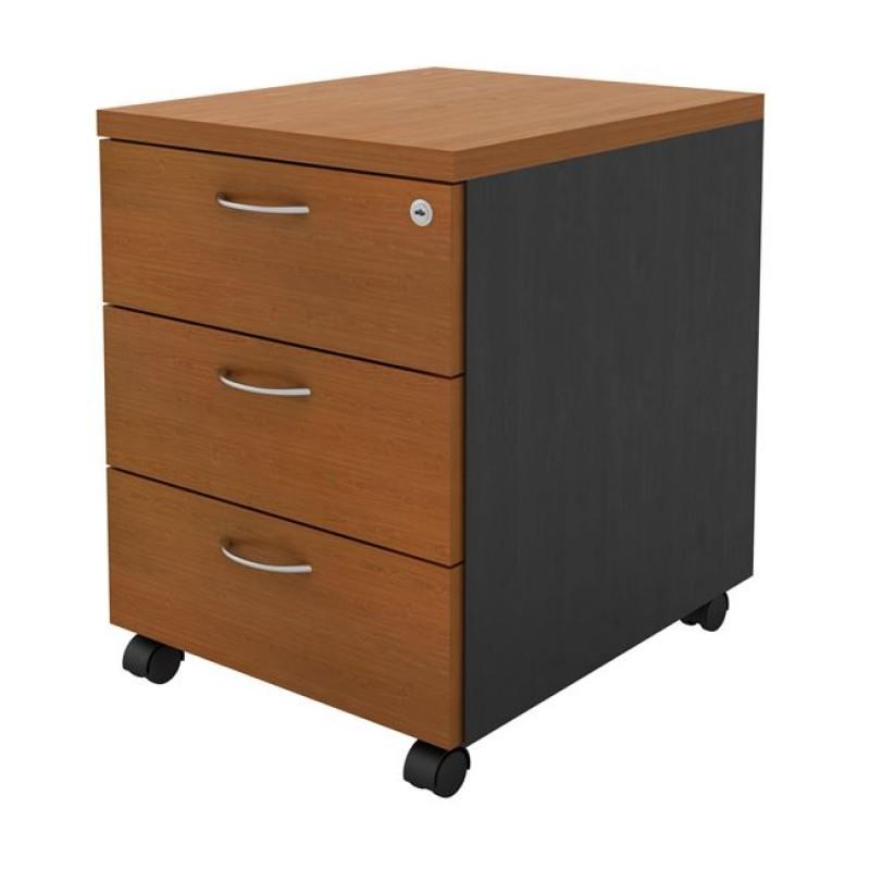 Συρταριέρα τροχυλάτη σε χρώμα γκρι σκούρο-κερασί, 40x48x56cm