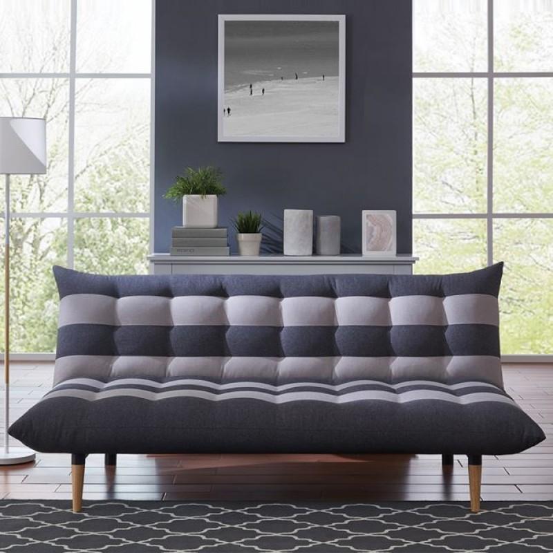 """Καναπές-κρεβάτι 3θέσιος """"VOX"""" υφασμάτινος σε χρώμα γκρι ριγέ, 189x95x86(Κρεβάτι121x189x41)cm"""