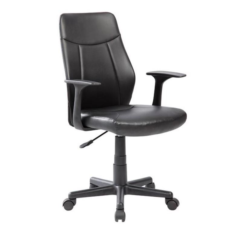 Πολυθρόνα διευθυντή από τεχνόδερμα/PU/PVC σε μαύρο χρώμα, 59x57x88/99