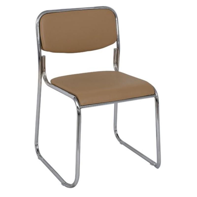 """Καρέκλα επισκέπτη """"CAMPUS"""" χρωμίου από τεχνόδερμα σε μπεζ/καπουτσίνο χρώμα 51x52x78"""