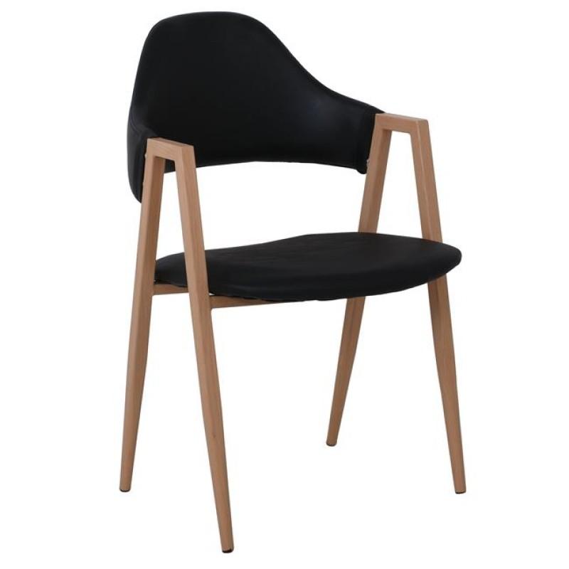 """Πολυθρόνα """"DELTA"""" μεταλλική-PU σε χρώμα φυσικό-μαύρο 51x51x81"""