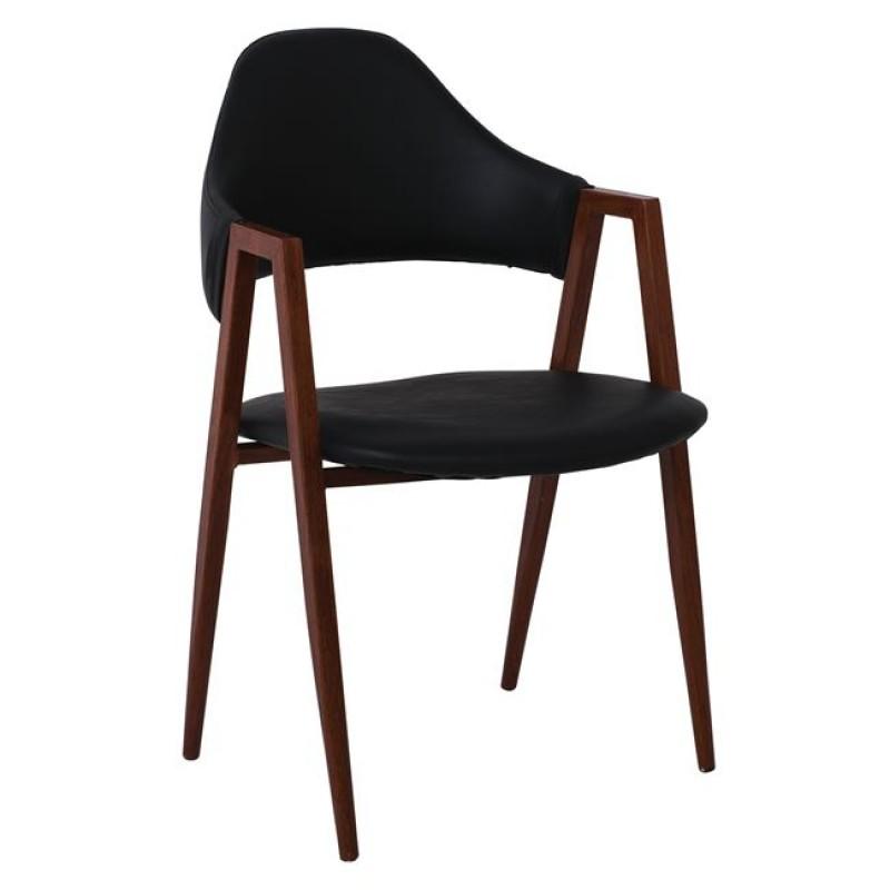 """Πολυθρόνα """"DELTA"""" μεταλλική-PU σε χρώμα καρυδί-μαύρο 51x51x81"""