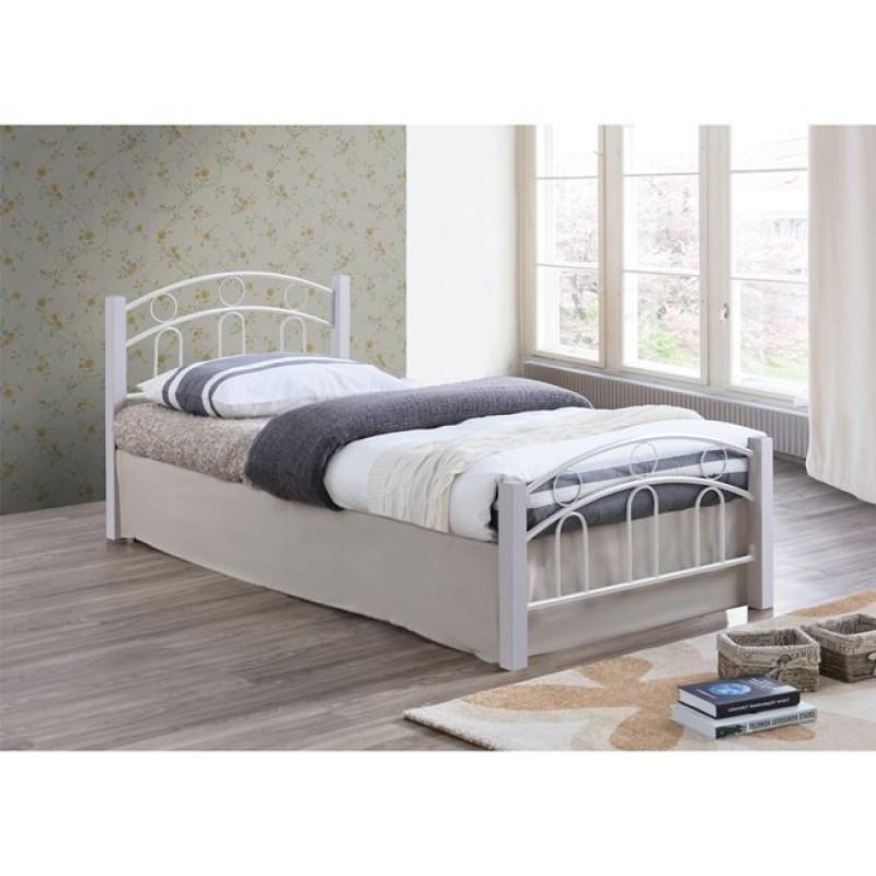 """Κρεβάτι """"NORTON"""" μονό μεταλλικό-ξύλινο σε άσπρο χρώμα 97x201x81"""