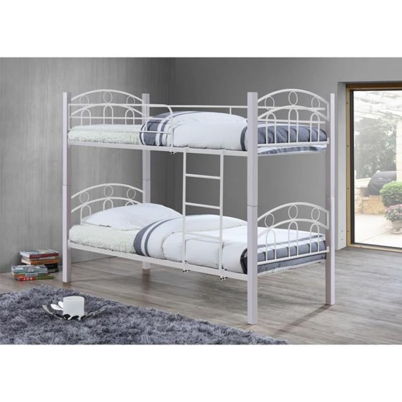 """Kρεβάτι-κουκέτα """"NORTON"""" από μεταλλικό σκελετό σε λευκό χρώμα 97x201x160"""