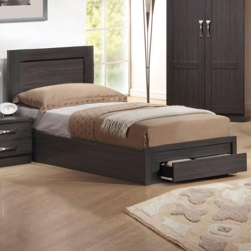 """Κρεβάτι-συρτάρι """"LIFE"""" μονό σε χρώμα zebrano 99x196x93"""