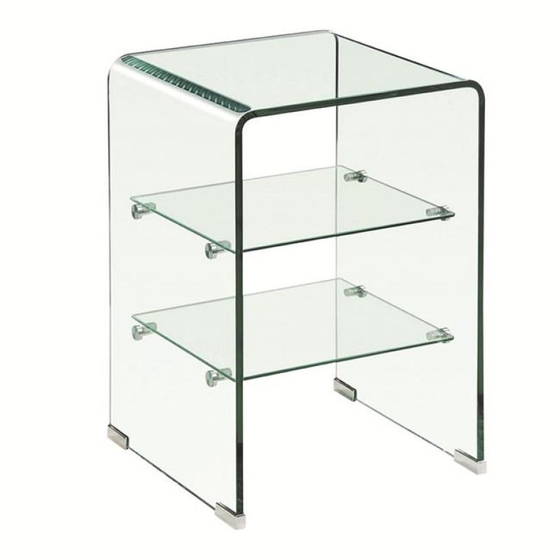 """Ραφιέρα """"GLASSER"""" γυάλινη σε χρώμα διάφανο 40x40x60"""