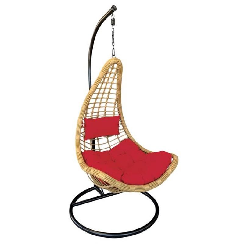 """Κρεμαστή πολυθρόνα κήπου """"LOTO-SALSA"""" wicker σε χρώμα φυσικό 125x105x196"""