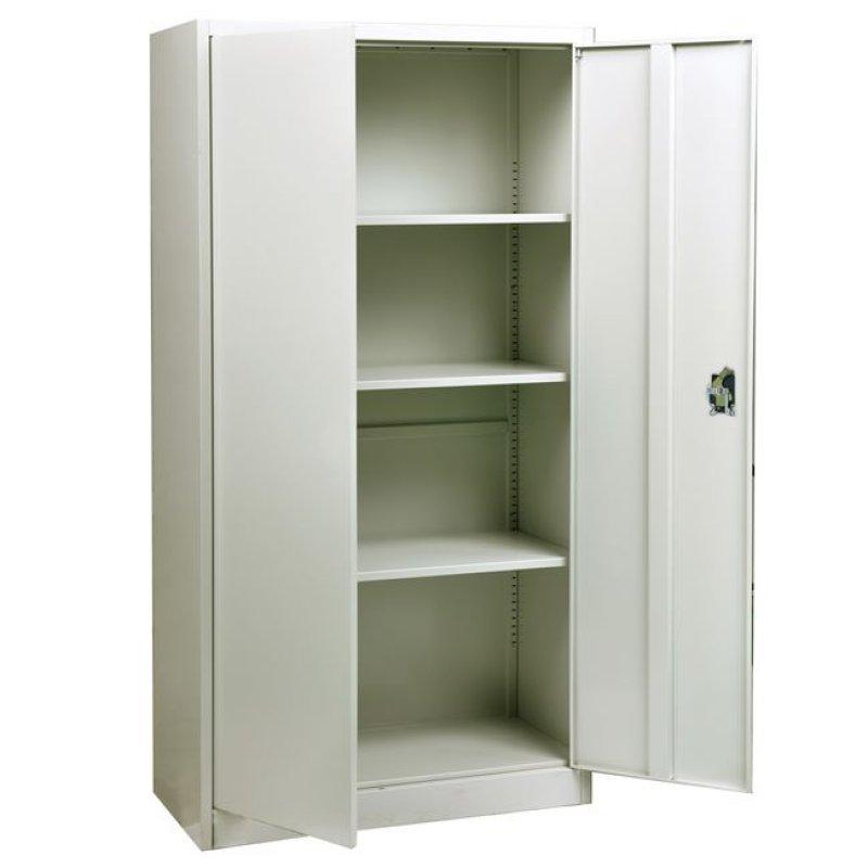 Ντουλάπα μεταλλική με 4 ράφια σε χρώμα λευκό 90x40x185