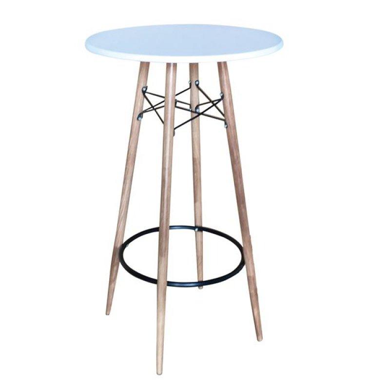"""Τραπέζι μπαρ """"MACK"""" μεταλλικό/PP σε χρώμα λευκό/φυσικό 60x106"""