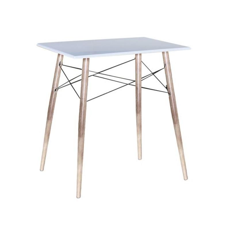 """Τραπέζι μπαρ """"MACK"""" μεταλλικό/PP σε χρώμα λευκό/φυσικό 80x60x86"""