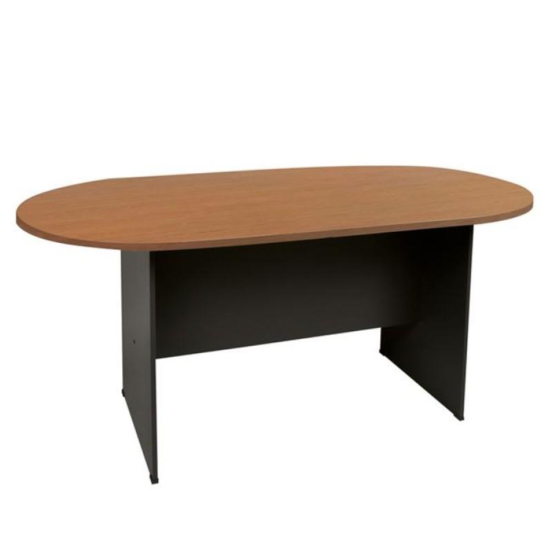 Τραπέζι συνεδρίου οβάλ σε χρώμα σκούρο γκρι-κερασί 180x90x75