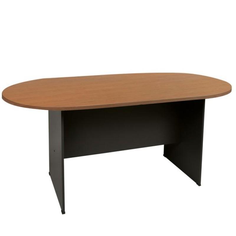 Τραπέζι συνεδρίου οβάλ σε χρώμα γκρι σκούρο-κερασί 240x120x75