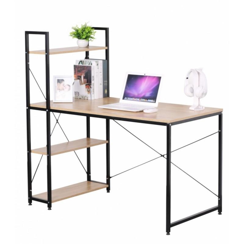"""Γραφείο-βιβλιοθήκη """"STUDENT"""" σε χρώμα οξιά και μαύρο μεταλλικό σκελετό 120x64x120"""