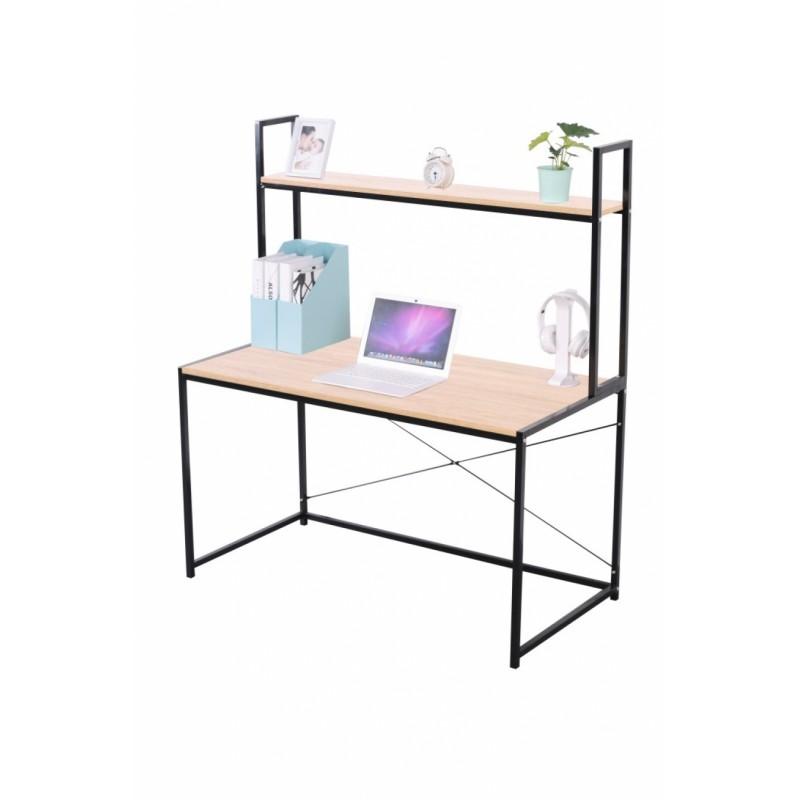 """Γραφείο-βιβλιοθήκη """"STUDENT"""" σε χρώμα οξιά και μαύρο μεταλλικό σκελετό 120x60x138"""