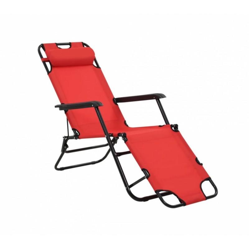 Ξαπλώστρα-καρέκλα μεταλλική σε κόκκινο χρώμα 163x60x80