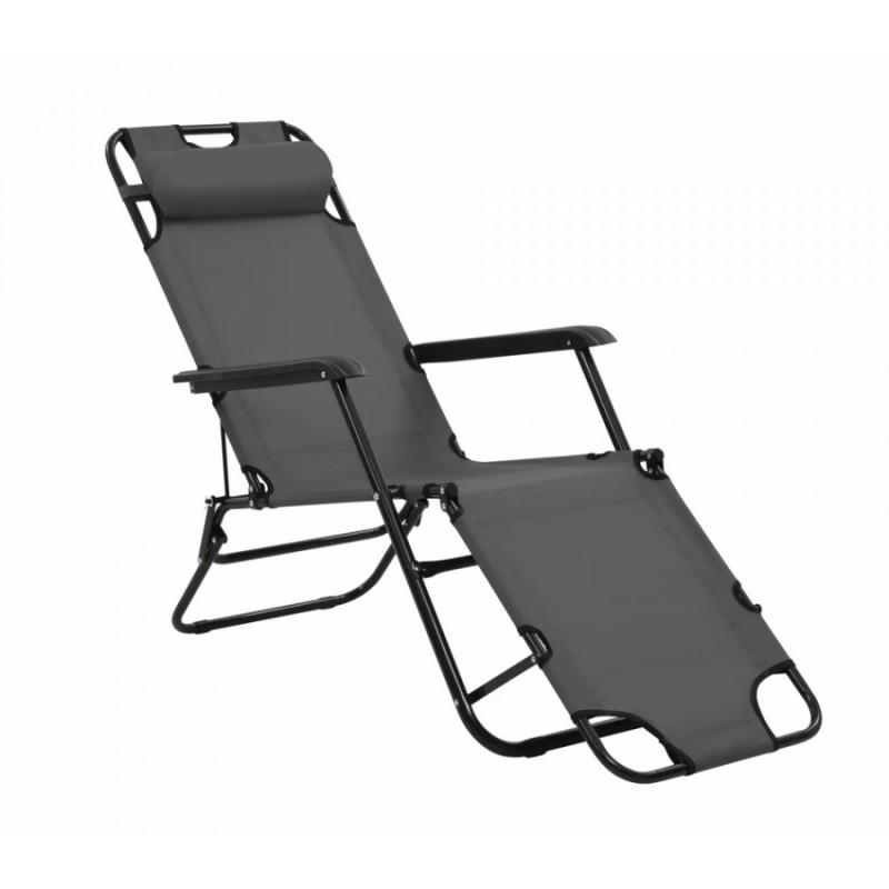 Ξαπλώστρα-καρέκλα μεταλλική σε γκρι χρώμα 163x60x80