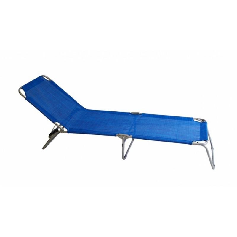 Ξαπλώστρα μεταλλική-textilene σε μπλε χρώμα 188x58x28