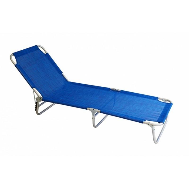 Ξαπλώστρα αλουμινίου textilene σε μπλε χρώμα 188x58x28
