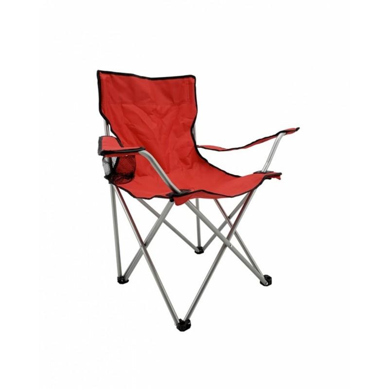 Καρέκλα camping μεταλλική σε κόκκινο χρώμα 50x50x80