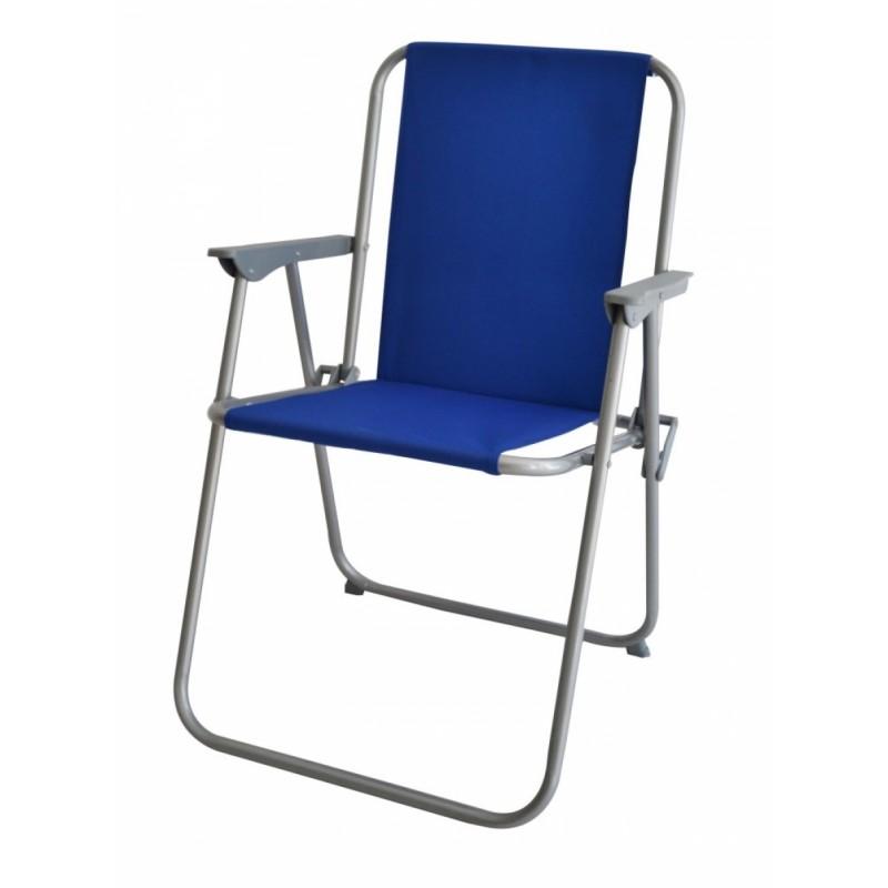 Καρέκλα παραλία μεταλλική σε γκρι-μπλε χρώμα 53x58x75