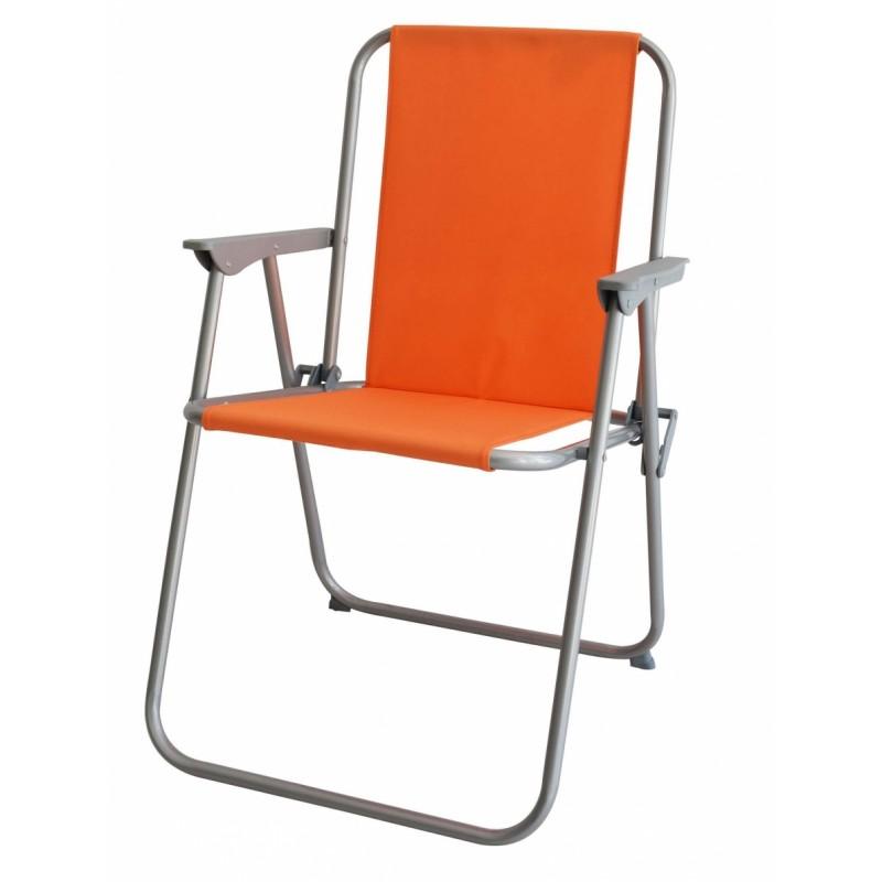 Καρέκλα παραλία μεταλλική σε γκρι-πορτοκαλί χρώμα 53x58x75