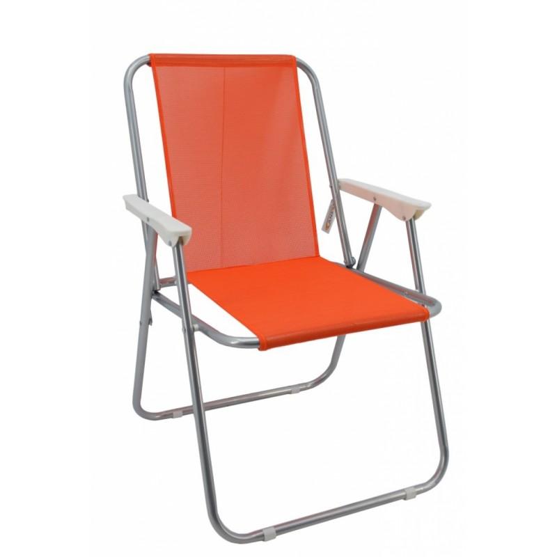 Καρέκλα παραλία μεταλλική σε γκρι-πορτοκαλί χρώμα 51x47x75
