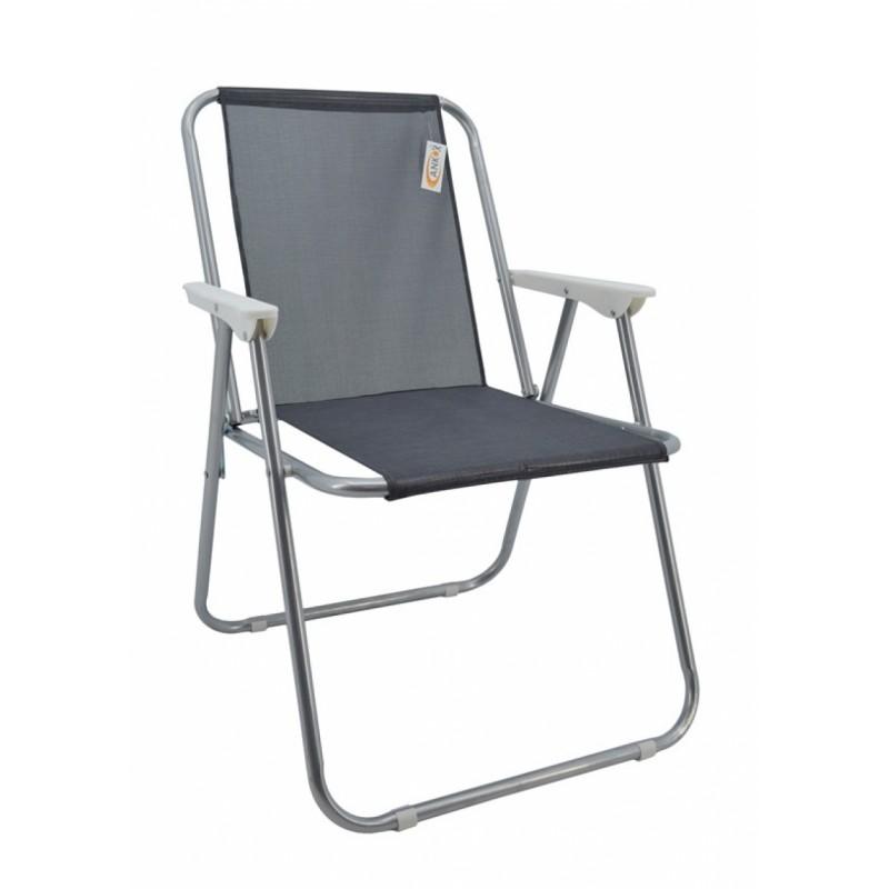 Καρέκλα παραλία μεταλλική σε γκρι-ασημί χρώμα 51x47x75