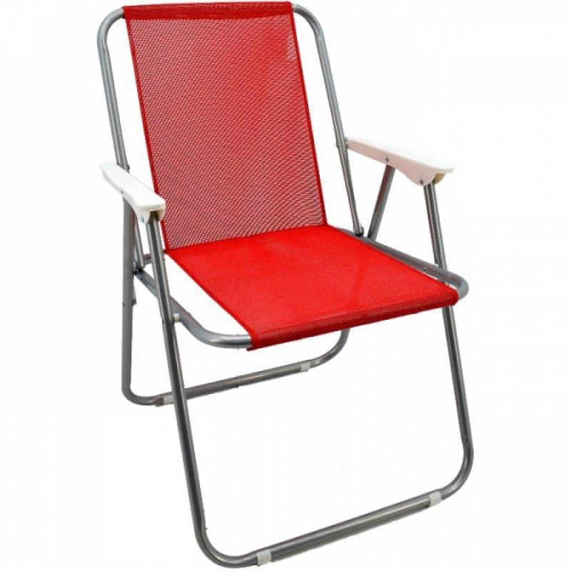 Καρέκλα παραλία μεταλλική σε ασημί-κόκκινο χρώμα 51x47x75