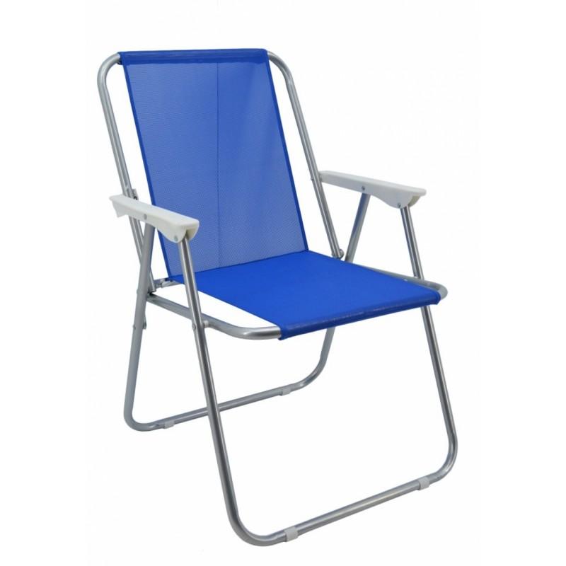 Καρέκλα παραλία μεταλλική σε γκρι-μπλε χρώμα 51x47x75