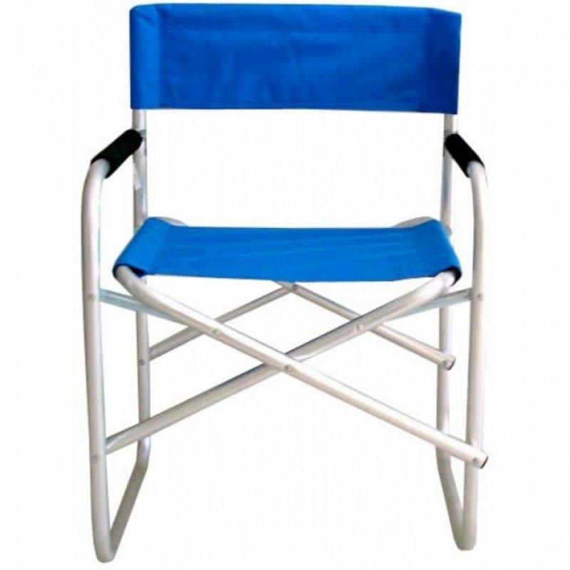 Πολυθρόνα σκηνοθέτη αλουμινίου σε ασημί-μπλε χρώμα 47x55x78