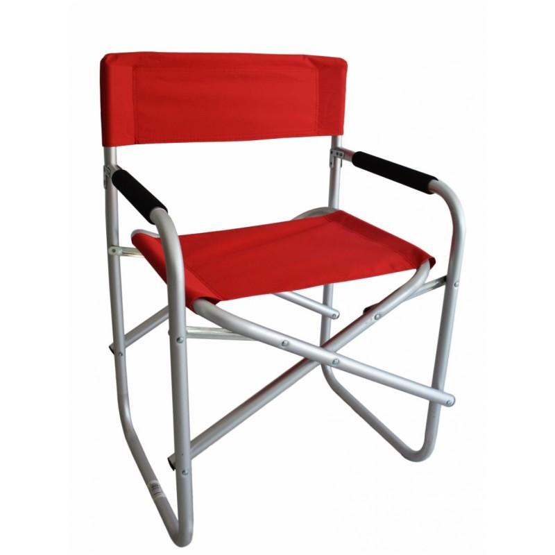 Πολυθρόνα σκηνοθέτη αλουμινίου σε ασημί-κόκκινο χρώμα 47x55x78