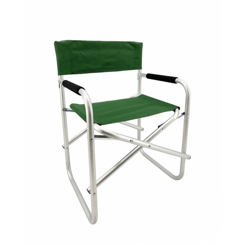 Πολυθρόνα σκηνοθέτη αλουμινίου σε ασημί-πράσινο χρώμα 47x55x78