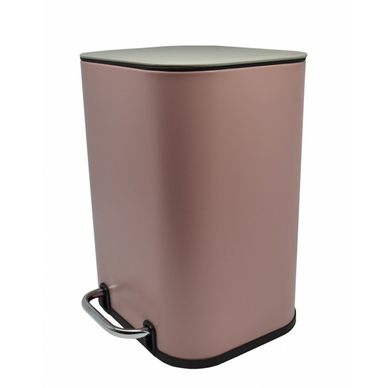 Κάδος πεντάλ ανοξείδωτος σε ροζ ματ χρώμα 21.5x22.8x29