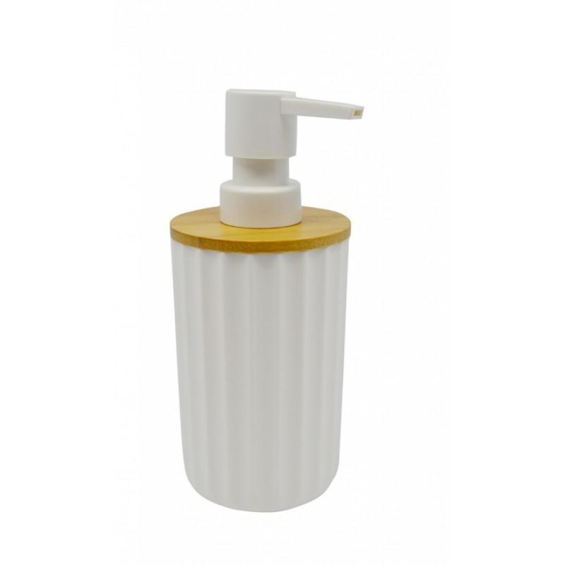 """Σαπουνοθήκη """"DISPENSER"""" πλαστική-ξύλινη σε λευκό χρώμα 7,5x18"""