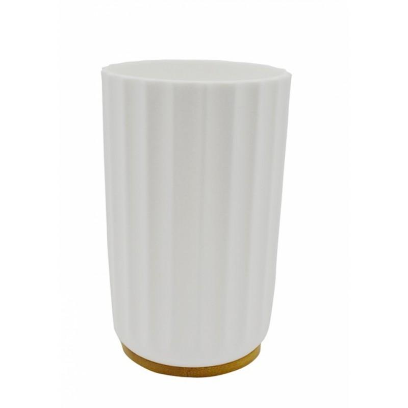 Ποτηροθήκη πλαστική-ξύλινη σε λευκό χρώμα 7,5x12