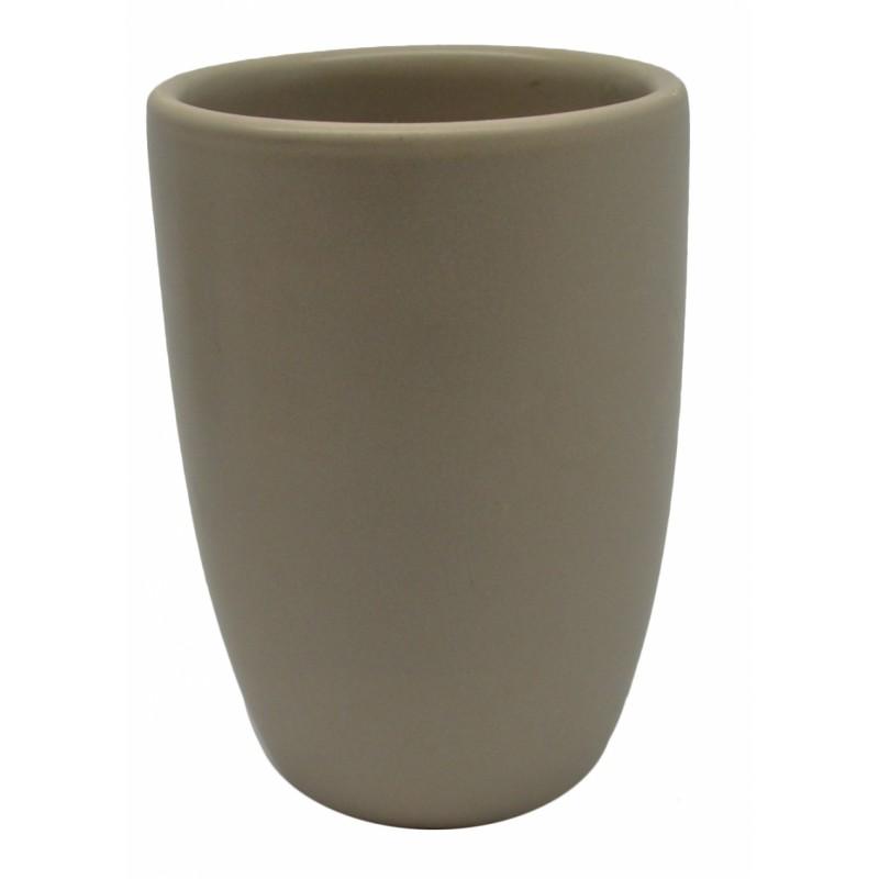 Ποτηράκι κεραμικό σε μπεζ ματ χρώμα 7,5x7,5x11