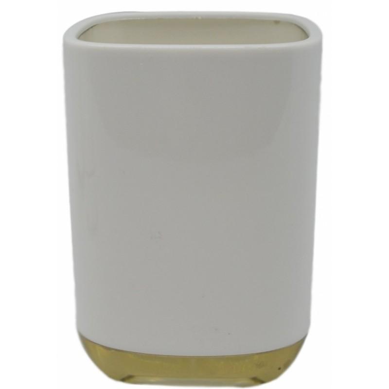 Ποτηράκι πλαστικό σε λευκό-μπεζ χρώμα 7x7x11