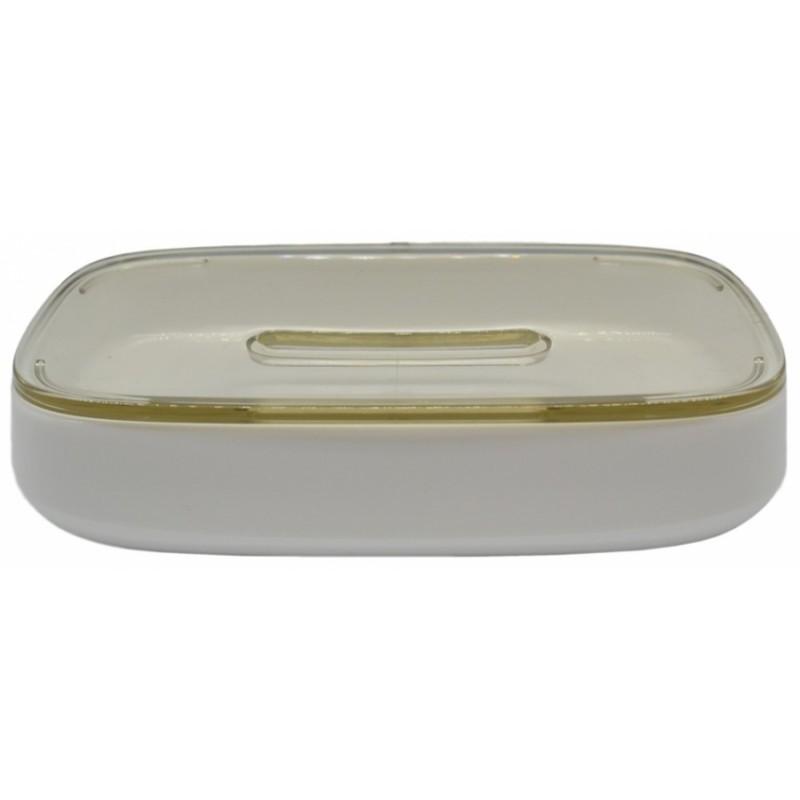 Σαπουνοθήκη πλαστική σε λευκό-μπεζ χρώμα 12x7,5x3